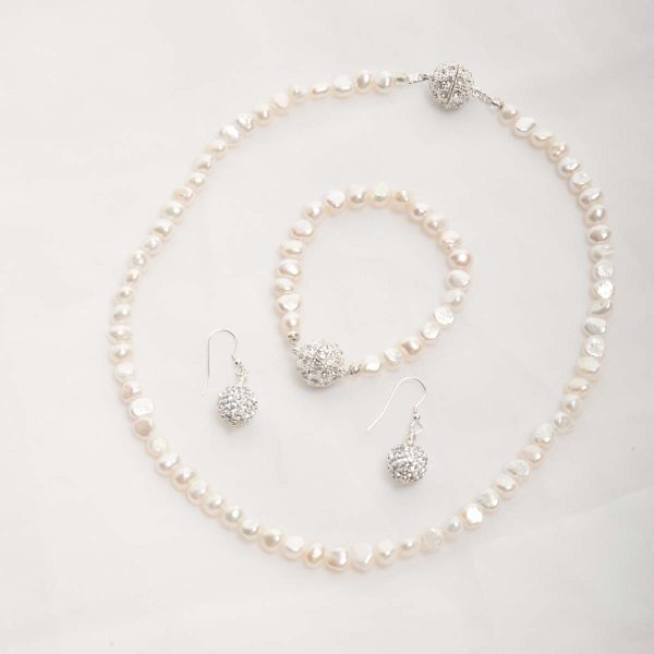 Ula - Freshwater Pearl Set - Necklace, Bracelet w/ Rhinestone Earrings 16