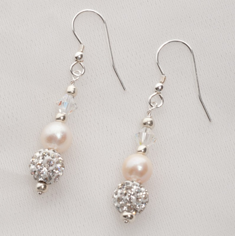 Meryl - Freshwater Pearl and Swarovski Crystal Earrings 1