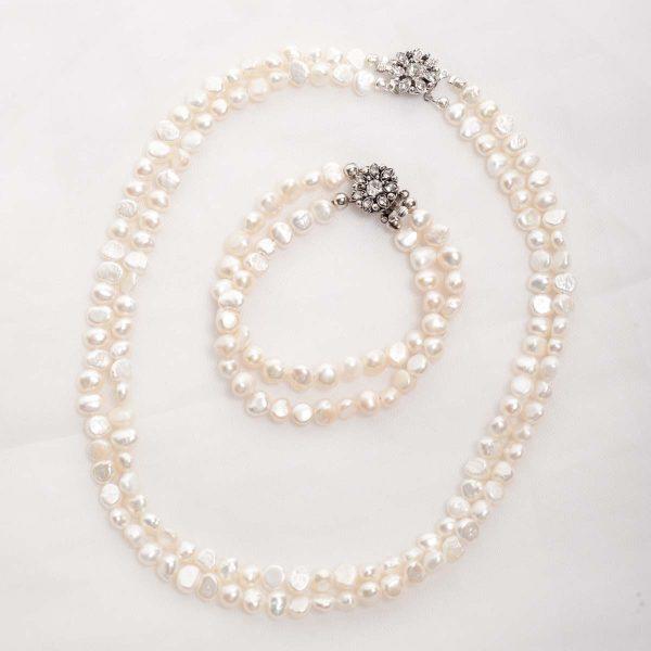 Cordelia-Double Strand Freshwater Pearls and Rhinestone Crystal Clasp Bracelet 33