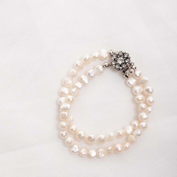 Cordelia-Double Strand Freshwater Pearls and Rhinestone Crystal Clasp Bracelet 31