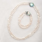 Alba - Double Strand Freshwater Pearl Bracelet with Abalone Clasp 5