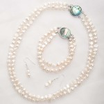 Alba - Double Strand Freshwater Pearl Bracelet with Abalone Clasp 6