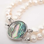 Alba - Double Strand Freshwater Pearl Bracelet with Abalone Clasp 3