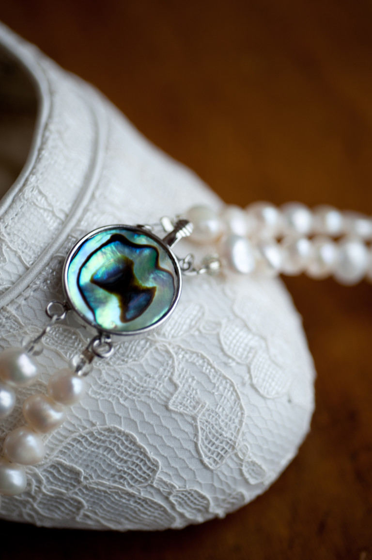 Cordelia - Double Strand Freshwater Pearl Necklace with Abalone Clasp 43