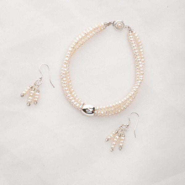 Earwyn - Three Strand 3mm Freshwater Seed Pearls w/Sterling Silver Pendant Set w/FREE Earrings 18