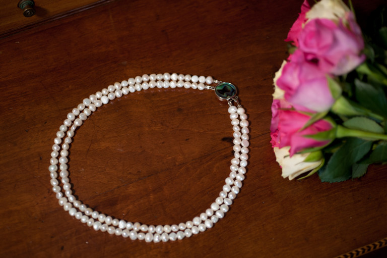 Cordelia - Double Strand Freshwater Pearl Necklace with Abalone Clasp 1
