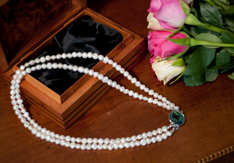 Cordelia - Double Strand Freshwater Pearl Necklace with Abalone Clasp 46