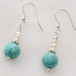 Sedona - Turquoise and Freshwater Pearl  with Sterling Silver Wire Earrings 2
