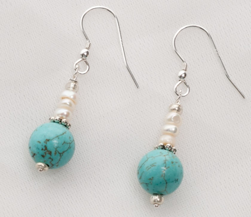 Sedona - Turquoise and Freshwater Pearl  with Sterling Silver Wire Earrings 1