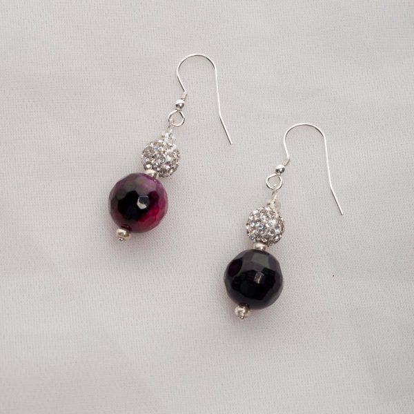 Purple Agate with rihinestone bead Earrings
