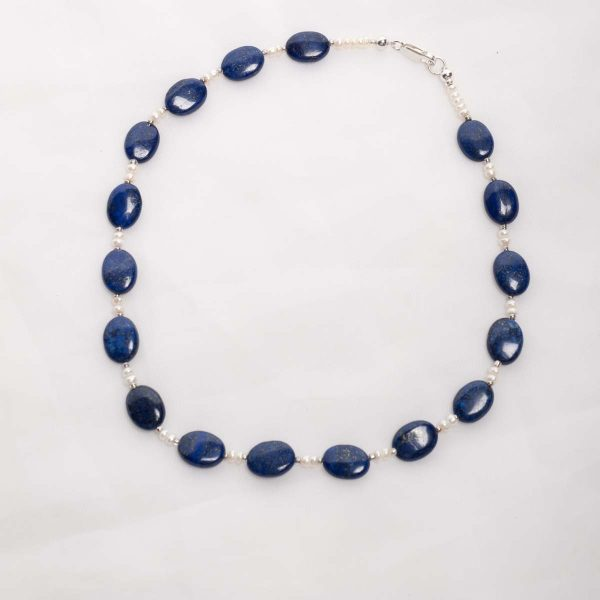 Azura - Lapis Lazuli  14mm oval beads with 3-4mm freshwater pearl beads w/sterling silver lobster clasp 10