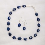 Azura - Lapis Lazuli  14mm oval beads with 3-4mm freshwater pearl beads w/sterling silver lobster clasp 3
