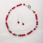 Scarlet - Coral 6mm Bead w/ Swarovski Crystals with Silver Plated Beads w/ Crystal Encrusted Enamel Clasp Necklace 1