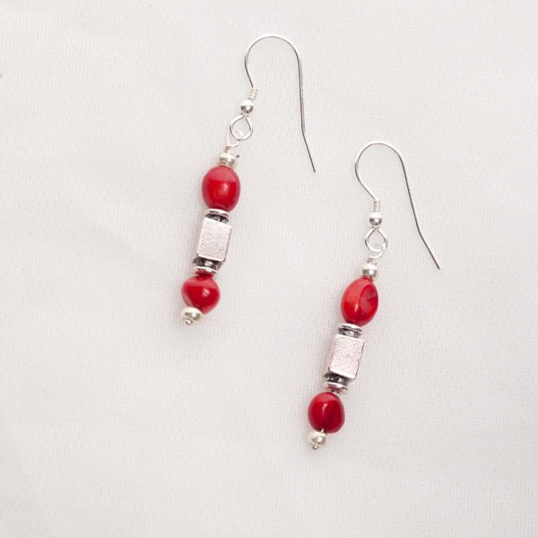 Scarlett - 4-5mm Coral necklace with Sterling Silver Clasp with Matching Earrings Set 39