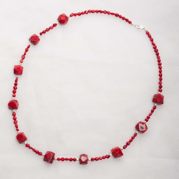 Scarlett - Round and Square Bead Coral Necklace w/ Sterling Silver Clasp 1