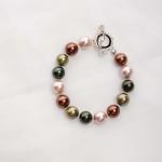 Tasi - South Pacific Pink Seashell  Earrings with Rhinestone Encrusted Bead 5