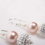 Tasi - South Pacific Pink Seashell  Earrings with Rhinestone Encrusted Bead 2