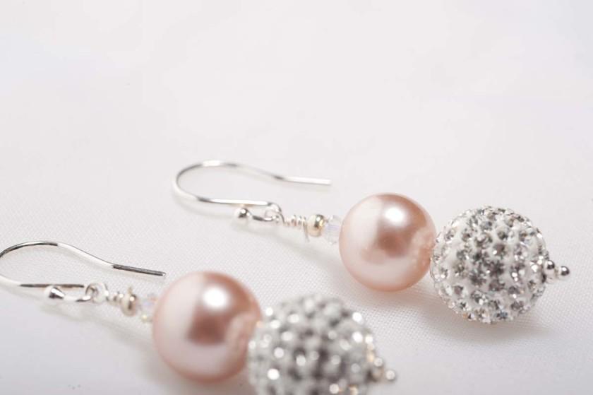 Tasi - South Pacific Pink Seashell  Earrings with Rhinestone Encrusted Bead 1