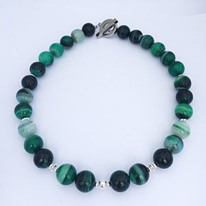 Jade Green Banded Agate Necklace