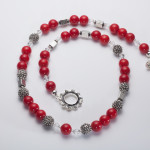 Scarlet - Coral 6mm Bead w/ Swarovski Crystals with Silver Plated Beads w/ Crystal Encrusted Enamel Clasp Necklace 3
