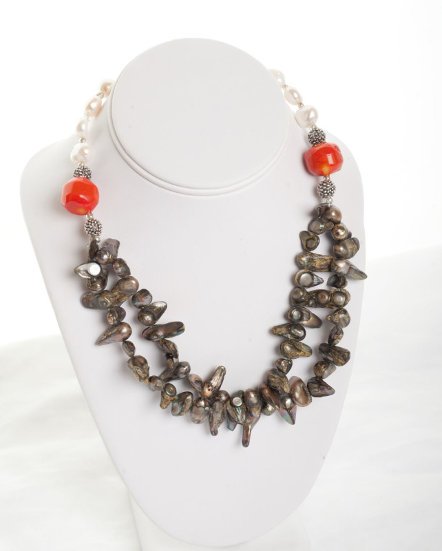Orange Coral and Green & White Freshwater Pearl Necklace
