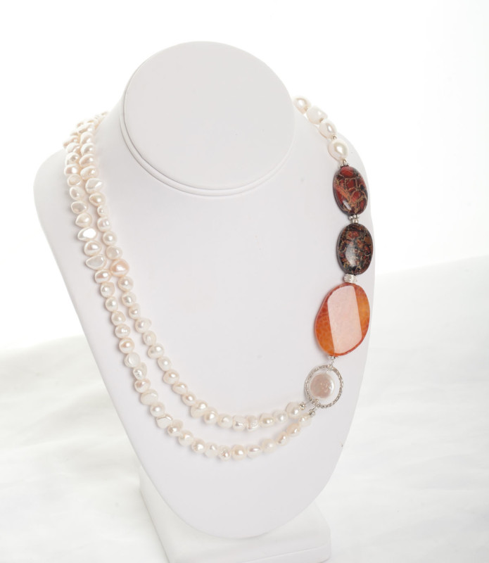 Orange Agate and Freshwater pearl and sterling silver ring necklace