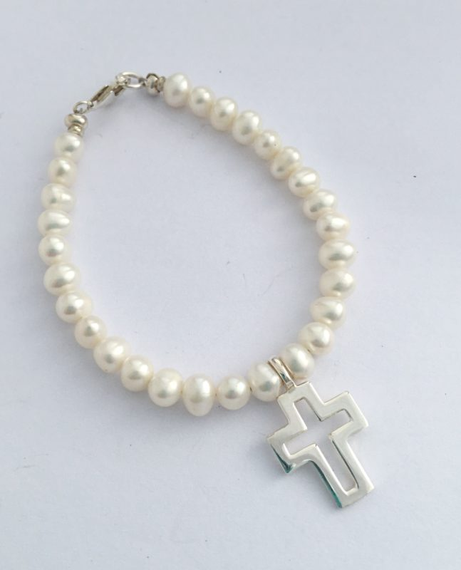Arora Crystal - Child's Freshwater Pearl Bracelet with Sterling Silver 19