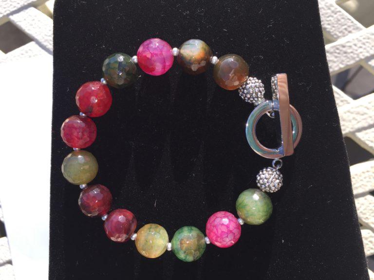 Amanda - Green and Pink toned Agate Bracelet 16