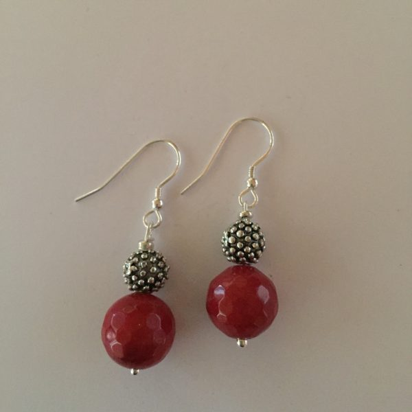 Amanda - Red Jade Earrings 14