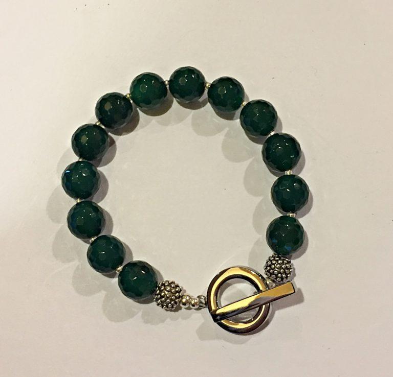 Amanda  Emerald - Green Agate Bracelet 13