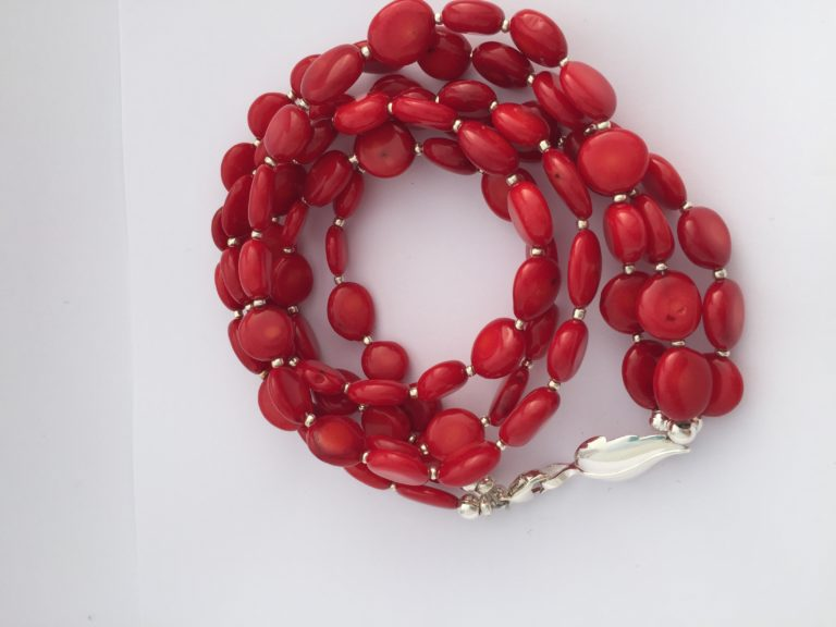 Lipstick - Triple strand coral necklace and Sterling Silver Clasp 18