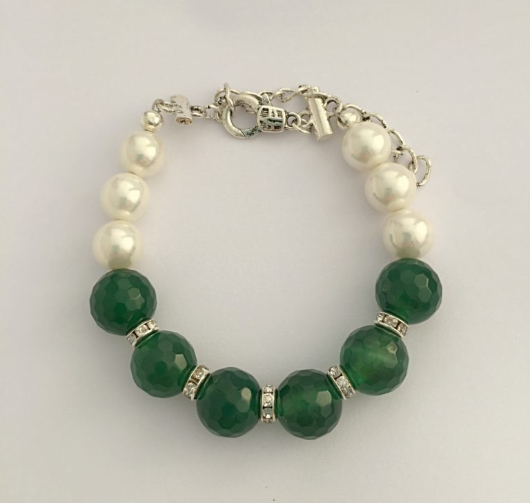 Caltic - Swarovski pearls and Green Faceted Agate 29