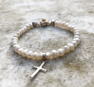 Freshwater Pearl and Sterling Silver Cross