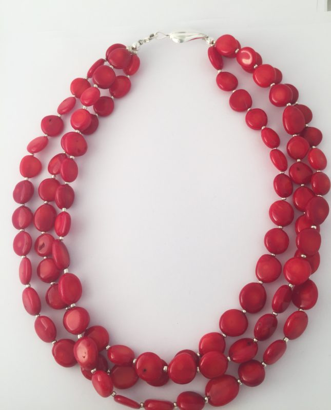 Lipstick - Triple strand coral necklace and Sterling Silver Clasp 17