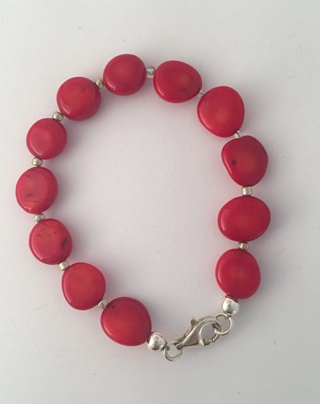 Lipstick - Triple strand coral necklace and Sterling Silver Clasp 19