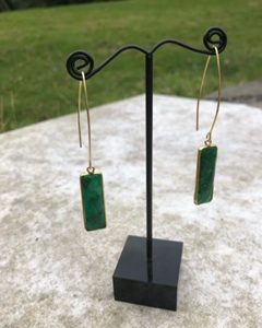 An Emerald Green Quartz Earrings with Rolled gold on sterling silver