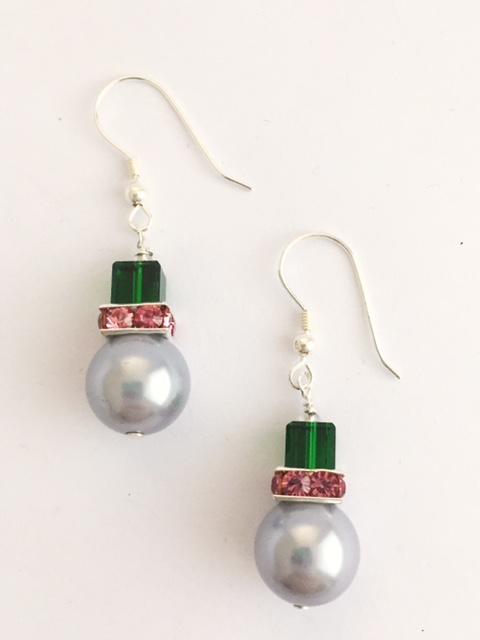 An Emerald Green Quartz Earring with Rolled gold on sterling silver earrings 17