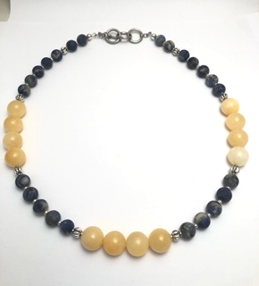 Royal Blue Sodalite and Yellow Kynite Necklace