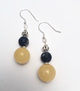 Royal Blue Sodalite and Yellow Kynite Earrings