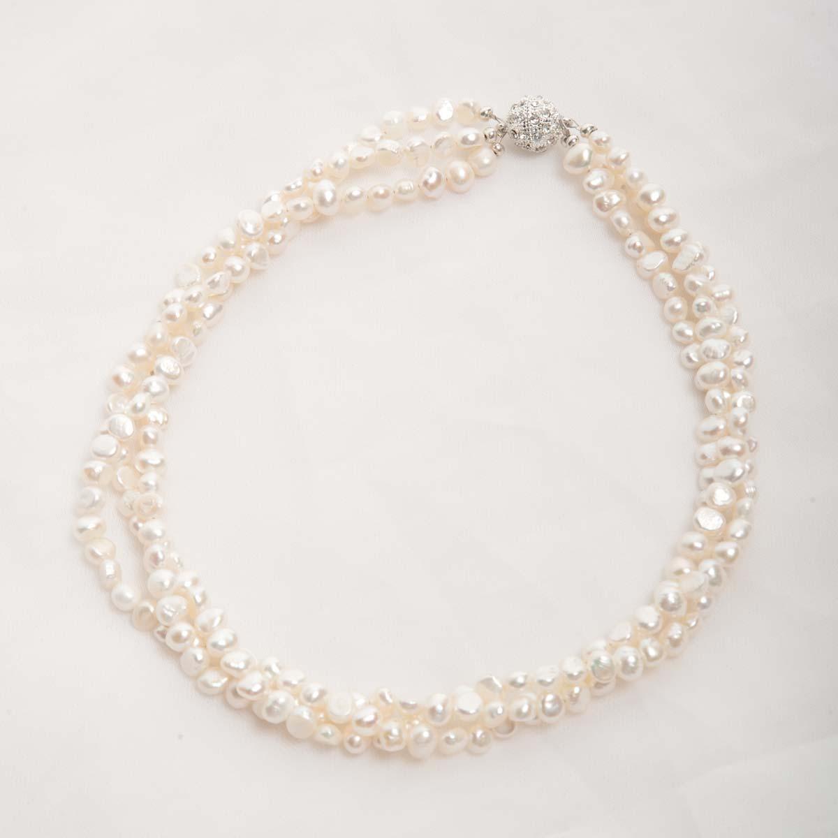 nb11 Three Strand White Freshwater Pearl Necklace Bracelet Set