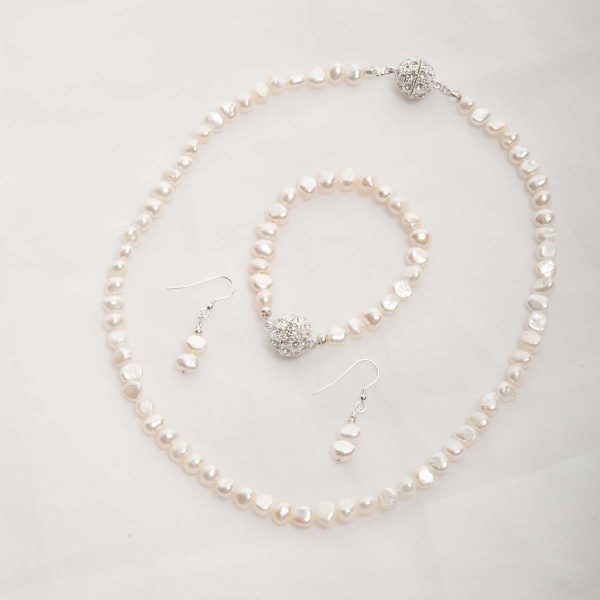 Ula – Freshwater Pearl Set – Necklace, Bracelet w/ Earrings 3