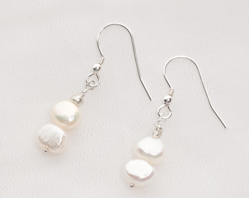 Ula - Freshwater Pearl Earrings with Sterling Silver Earwire 1