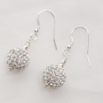 Marella - Rhinestone Crystal Ball Earrings with Sterling Silver 2