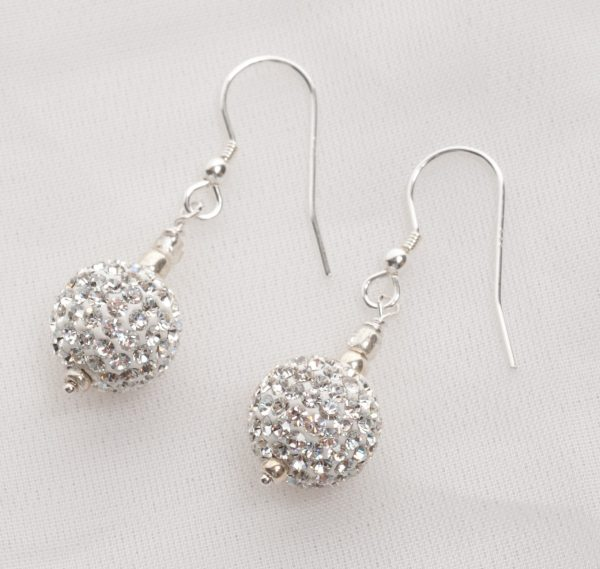 Marella - Rhinestone Crystal Ball Earrings with Sterling Silver 15