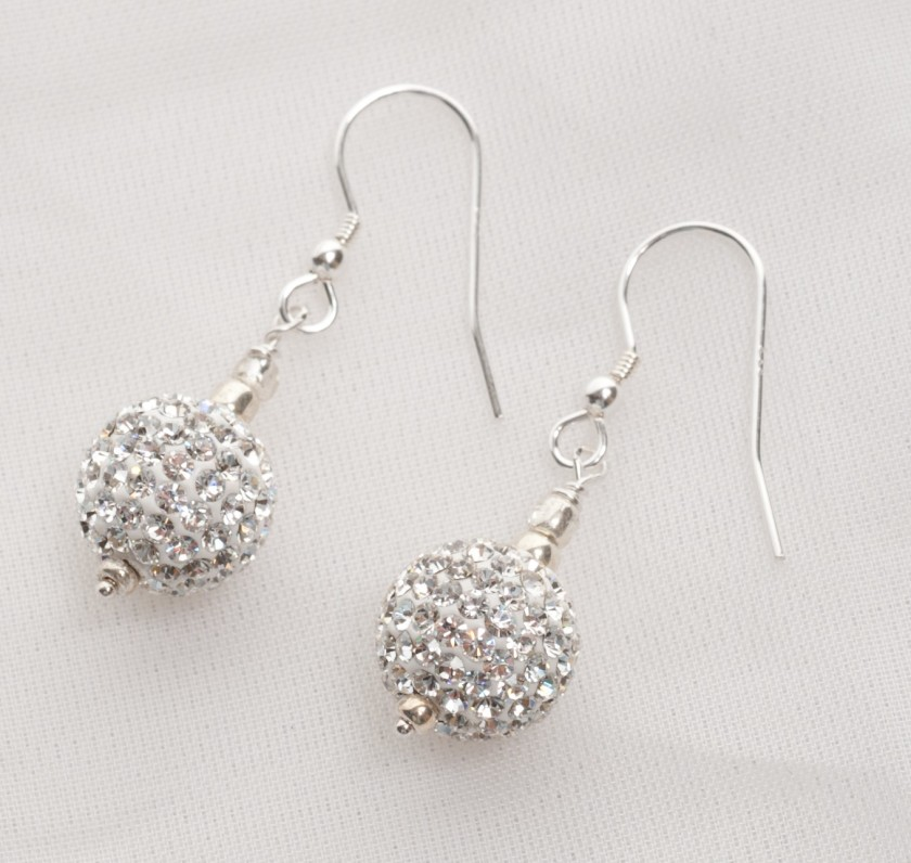 Marella - Rhinestone Crystal Ball Earrings with Sterling Silver 9