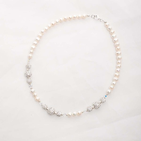 Marella – Freshwater Pearls, Swarovski Crystals with Rhinestone Necklace, Bracelet & Earrings 6