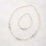 Marella - Freshwater Pearls, Swarovski Crystals with Rhinestone Necklace 4