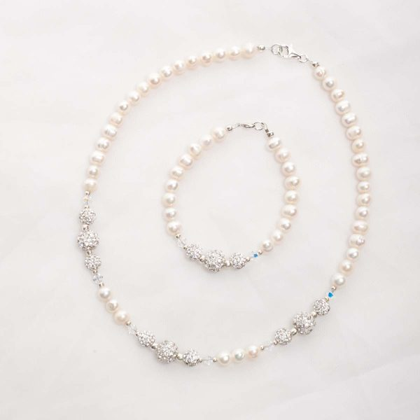 Marella – Freshwater Pearls, Swarovski Crystals with Rhinestone Necklace, Bracelet & Earrings 14