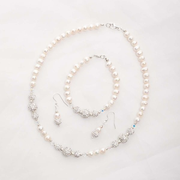 Marella – Freshwater Pearls, Swarovski Crystals with Rhinestone Necklace, Bracelet & Earrings 2