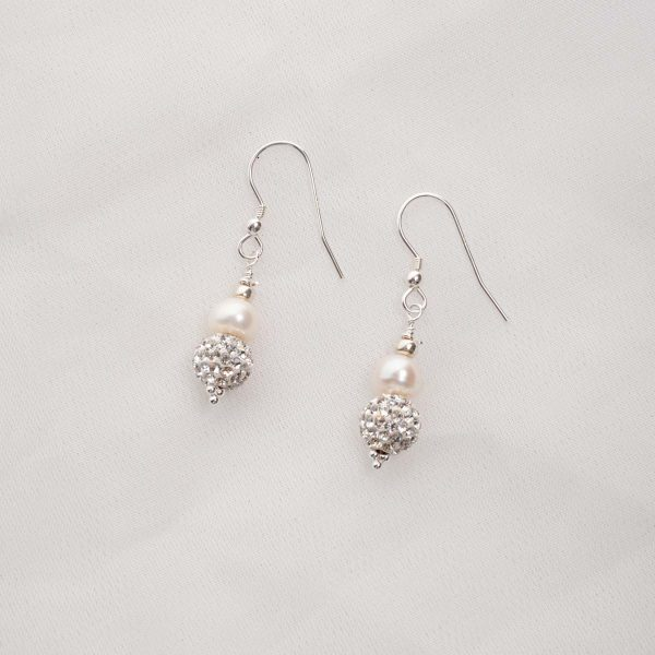 Marella - Freshwater Pearl & Rhinestone Drop Earrings 1